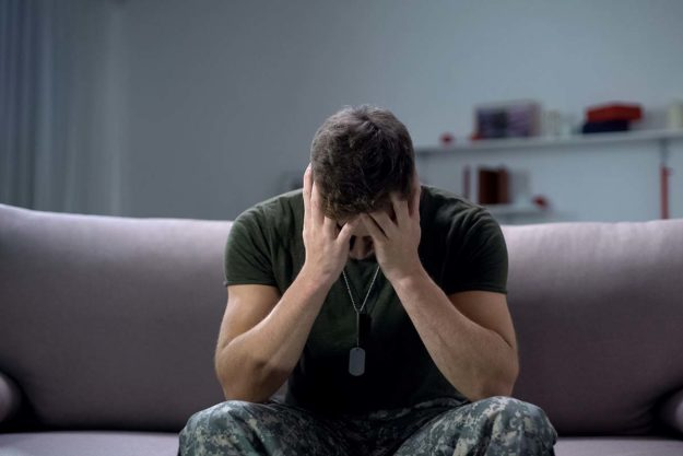 Military man dealing with ptsd